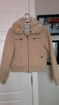 beige zip-up fur jacket