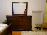 brown wooden dresser with mirror 33 mi