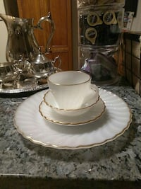 Milk glass 1950s tea cup and saucer set Mount Airy, 21771