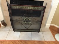 """Pier 1 Imports Screen. Metal. Shades of Browns and Greens. 30""""W front plus 14"""" sides that fold. Height 32"""".  Cypress, 77429"""