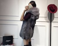 Faux Fur Hooded Vest (L Avail)