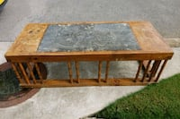 Oak Table With Marble Inlay Harvest, 35749