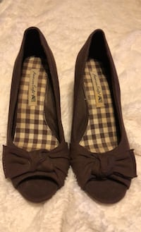 Brown peep toe wedge Centreville, 20120