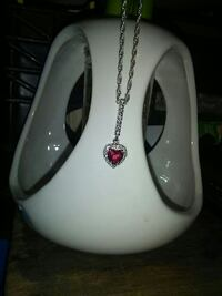 red gemstone and silver-colored heart pendant with byzantine necklace Prescott Valley, 86315