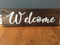 Brown wooden welcome hand painted board Island Lake, 60042