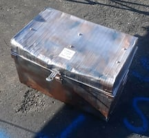 Blanket, toy, game or BEER CHEST, well build antique metal chest. BO