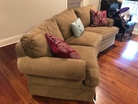 """Custom ordered, olive color, curved """"conversational"""" sofa Youngsville, 70592"""