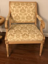 Brown wooden frame white floral padded armchair Oxon Hill, 20745