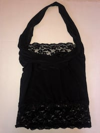 Sexy Black Club Lace Sequin Halter Top Very Soft