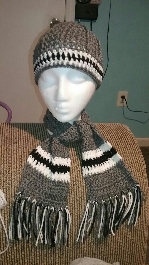 gray, black and white knit cap and scarf