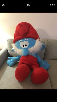 "Rare Giant 39.5"" Papa Smurf Plush Stuffed Toy Animal by Kellytoy Davie, 33325"