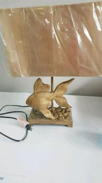 Table lamp, wooden carved fish