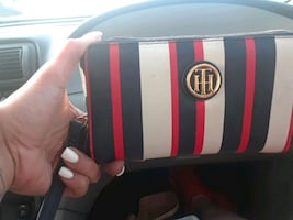 Red white and red leather wristlet