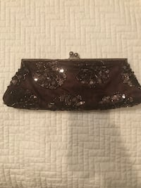 Brown lace and sequined evening clutch Raceland, 70394
