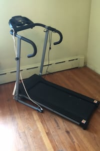 Treadmill folds up compact.