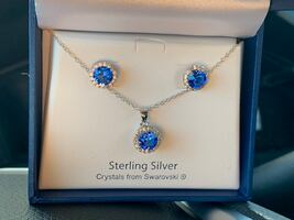 Sapphire Crystals Necklace & Earrings