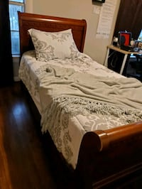 2 Twin Sleigh Bed Frames - Cherry Wood/Nice Detailing