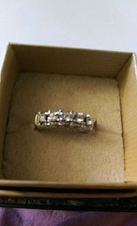 diamond embellished silver ring in box Taylor, 18517