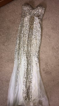 White Prom Dress with Silver and Gold Sequence