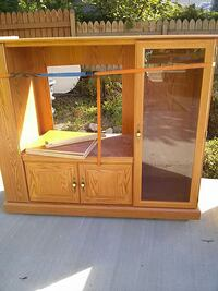 brown wooden TV hutch with cabinet Kelowna, V1Y 4V2