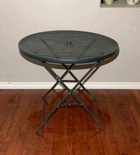 Black Steel Round Collapsible Patio Table w/ Hole for Umbrella Stand