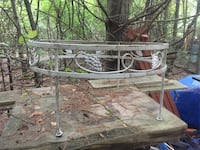 Round Table with Glass Blacksmith Made, nice detail , 02464