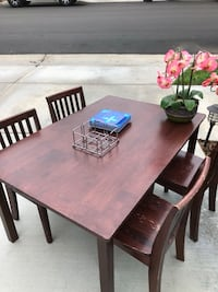 rectangular brown wooden table with six chairs dining set Temecula, 92591