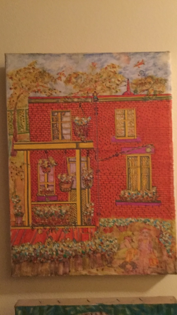 Red house painting 12/16 stretch canvas you like it talk to me I'm open. b7ffdaf0-800f-4923-959b-8ffa5c58acb0