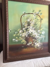 White daisy oil painting signed in wood frame 29 x 24 Westminster, 21158