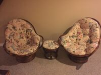 brown gray and green floral cushioned brown chair null, N0A 1N3