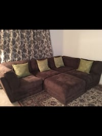 Brown suede sectional sofa with throw pillows Annandale, 22003