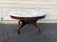 Vintage Oval Coffee Table With Removable Marble Top  22 mi
