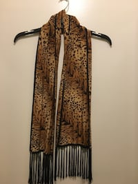 Jones of NY Brown and black floral silk fringe scarf Vienna, 22182