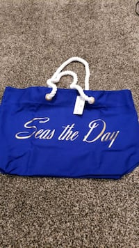 "Brand New Large Trina Turk Canvas Beach Tote Bag ""Seas The Day"" Surrey, V3X 2Z1"