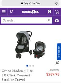 baby's black-and-grey Graco travel system screenshot