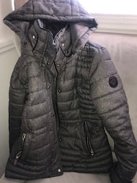 Gray zip-up bubble jacket (removable hood)  Toronto, M8W 3M4