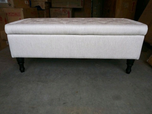 Excellent Linen Creme Fabric Tufted Storage Ottoman Bench Gmtry Best Dining Table And Chair Ideas Images Gmtryco