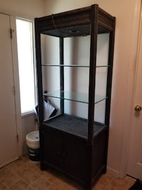 Pair of 7 foot tall glass shelves curio cabinets