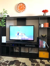 flat screen television with black wooden TV hutch Toronto, M3N 2H7