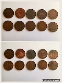 Lot of 10pcs. 1902 to 1919 Antique Genuine Canadian Large Pennies Calgary, T2R 0S8