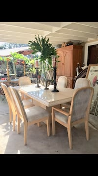 Contemporary travertine marble dining table with six chairs Chula Vista, 91911