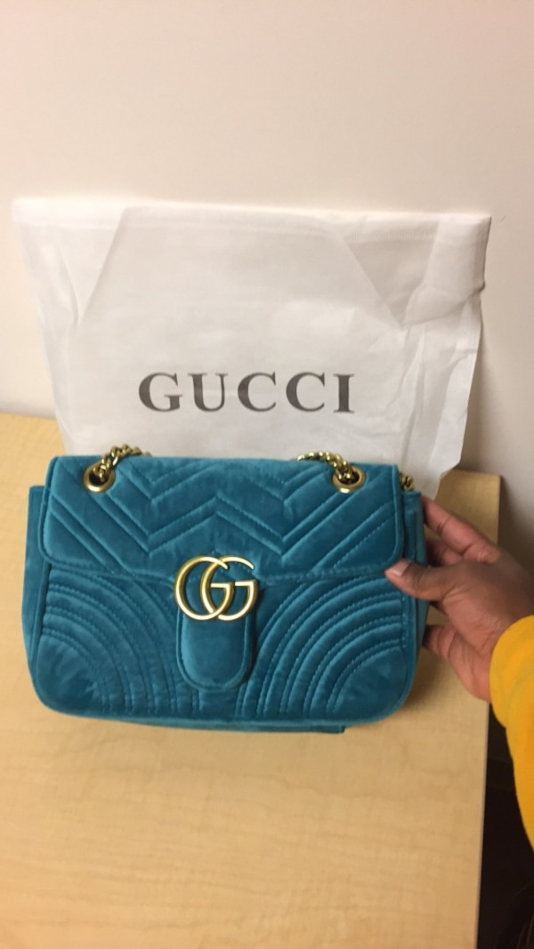 blue leather Gucci tote bag