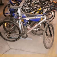 gray and blue hardtail mountain bike