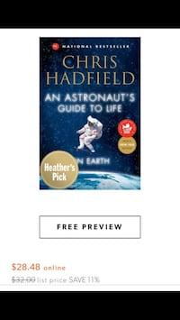 New #1 National Bestseller, By Chris Hadfield