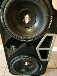"""2 12"""" lanzar max pro in bassworx box with Dual amp"""