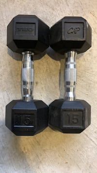 black-and-gray fixed-weight dumbbells