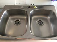 Two stainless steel sink with faucet