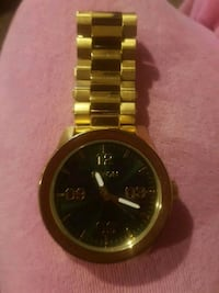 round gold-colored chronograph watch with link bracelet Edmonton