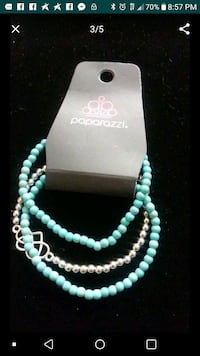 teal and white beaded necklace Lancaster, 93536