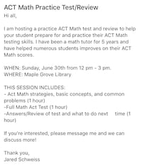 Math ACT Practice Session Maple Grove